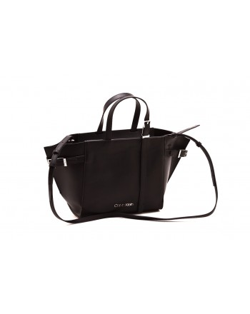CALVIN KLEIN - Shopping bag in leather - Black