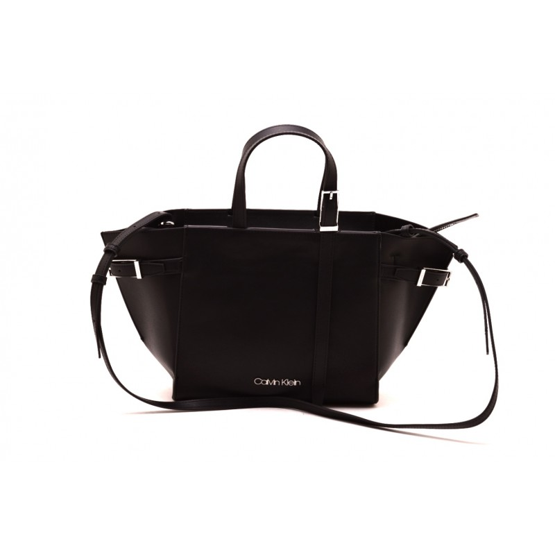 CALVIN KLEIN - Borsa Shopping in pelle - Nero