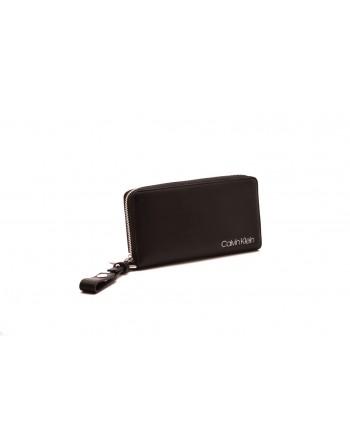 CALVIN KLEIN - Leather wrist bag - Nero