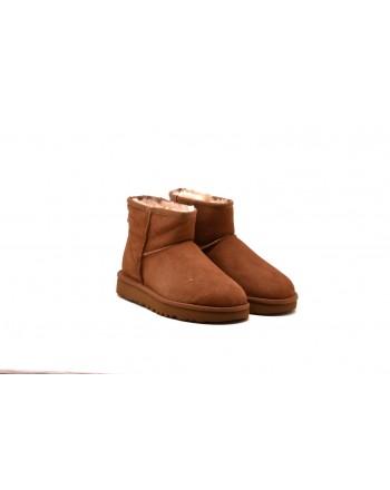UGG - Stivali MINI in Montone e pelle scamosciata - Chestnut