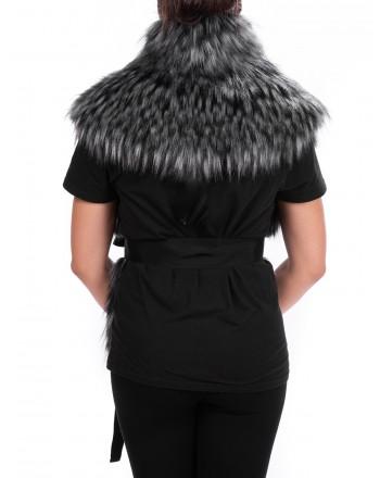 PINKO - Ecologic Fur URSINO Neck Scarf - Black/White