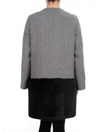 PINKO - Ecologic Fur and Wool Coat MORGAN - Black/White