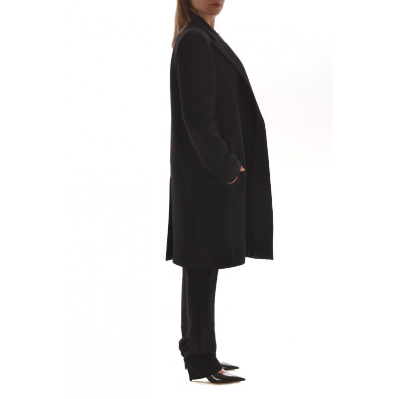 PHILOSOPHY di LORENZO SERAFINI - Wool Long Jacket with two Buttons - Black
