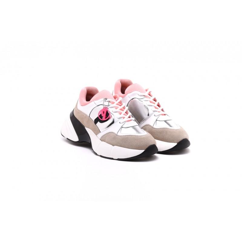 PINKO Sneakers ROCK in pelle - Beige/Bianco/Argento