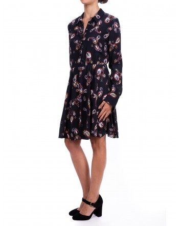 PINKO - Chemisier Levapunti dress with Paisley Fantasy - Black/Red