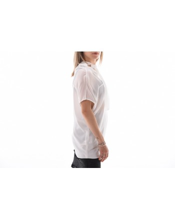 PINKO - Top Crepe De Chine STRILLARE - Bianco