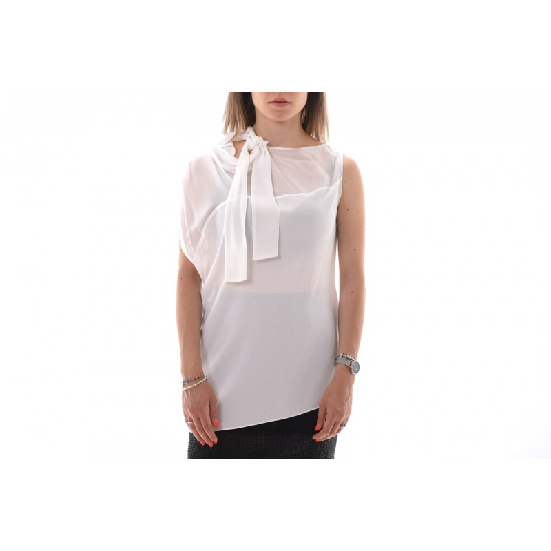 PINKO - STRILLARE top crepe the chine - White