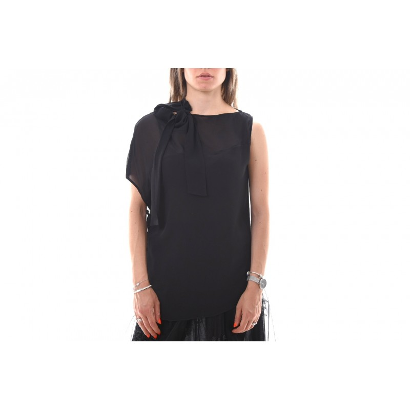 PINKO - STRILLARE top crepe the chine - Black