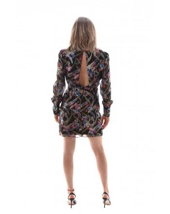 PINKO - STUPERARE Dress in silk - Black/Fuchsia