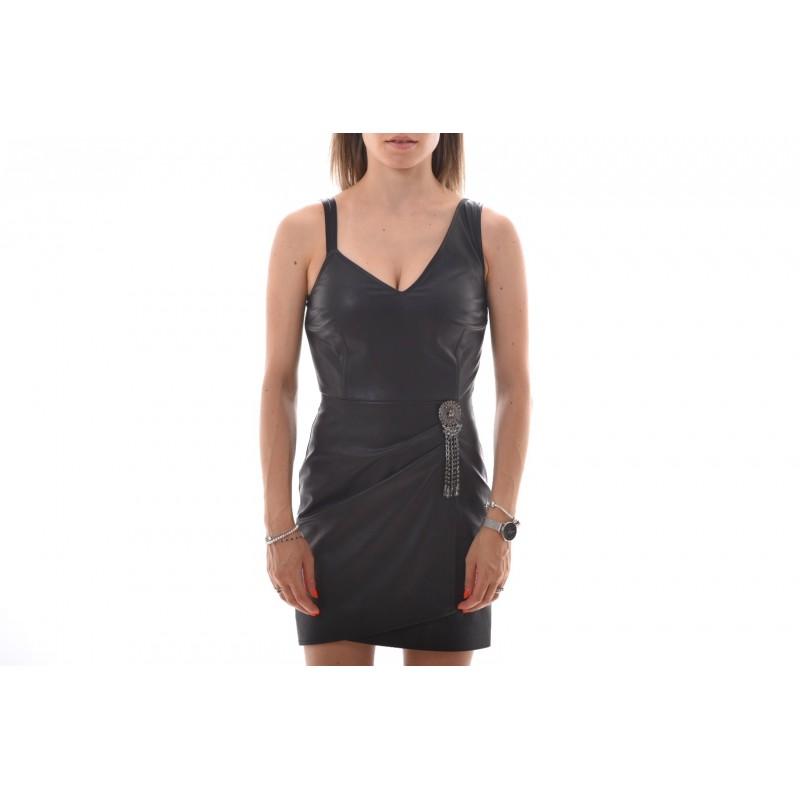 PINKO - Ecoleather Dress SLITTARE - Black