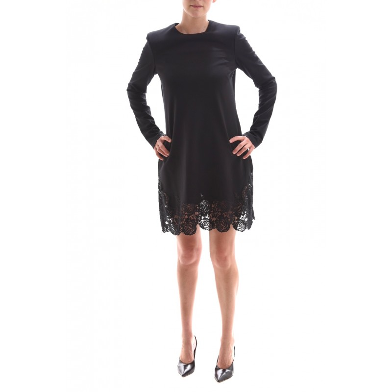 PHILOSOPHY di LORENZO SERAFINI - Viscose Dress with Lace Hem- Black
