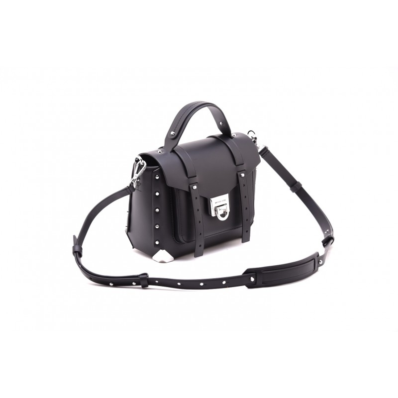 MICHAEL by MICHAEL KORS - MANHATTAN Leather  Bag with Silver Deatails  - Black
