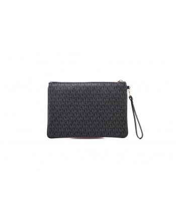 MICHAEL by MICHAEL KORS - Wristlet Bag with Band in the Middle  - Black/Neon Pink