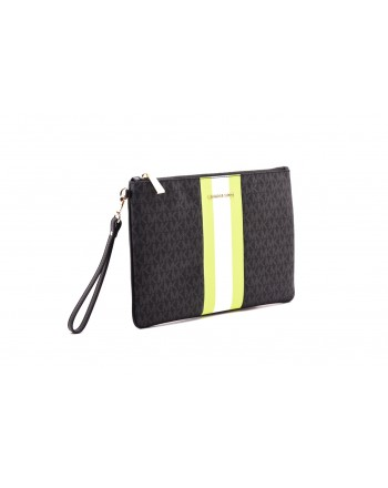 MICHAEL by MICHAEL KORS - Wristlet Bag with Band in the Middle  - Black/Neon Yellow