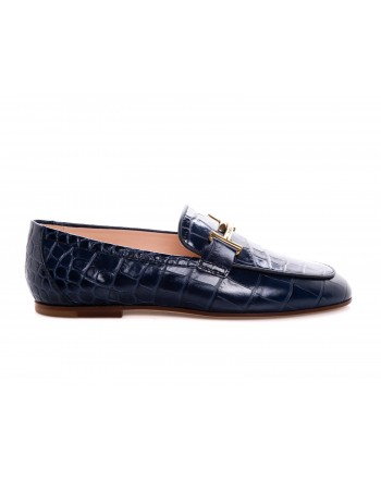 TOD'D - Leather Moccasin Print Crocodile - Blue