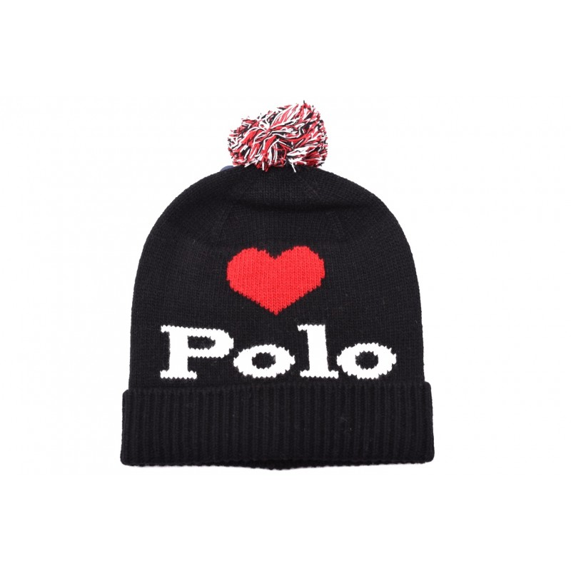 POLO RALPH LAUREN - Wool hat with embroidery - Black