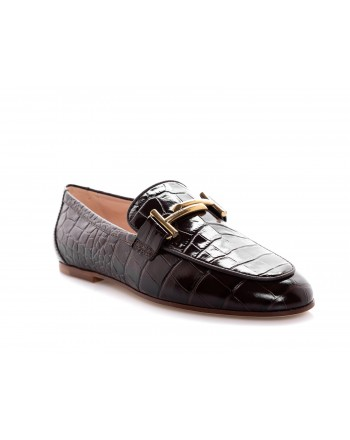 TOD'S - Leather Moccasin Print Crocodile - Brown