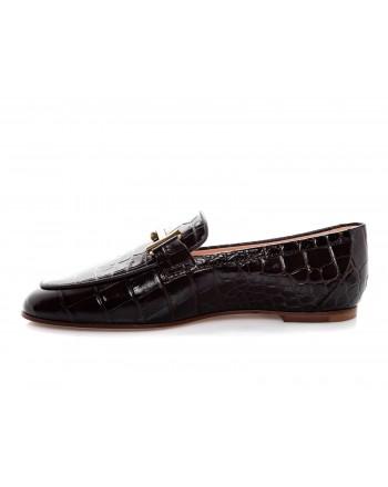 TOD'S - Leather Moccasin Print Crocodile - Brown
