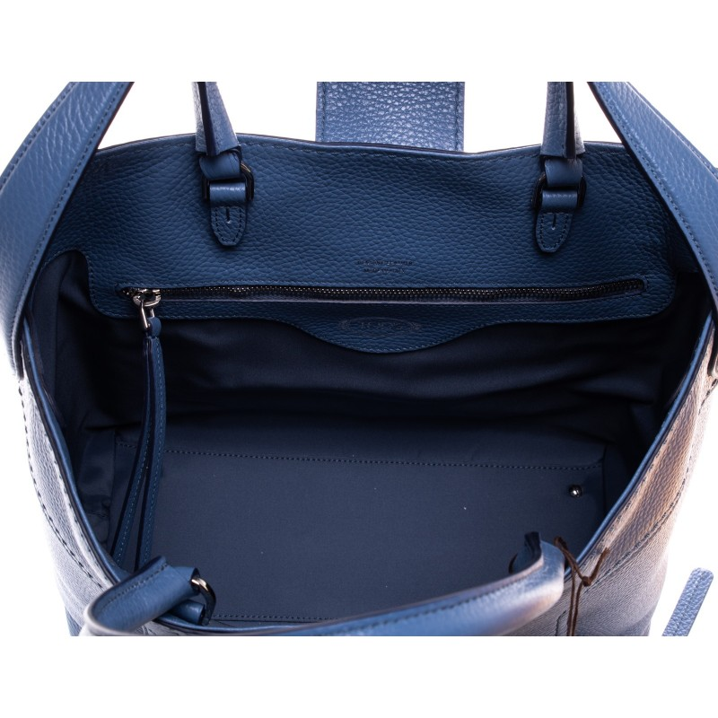 TOD'S - Leather Shopping Bag with double T - Blue