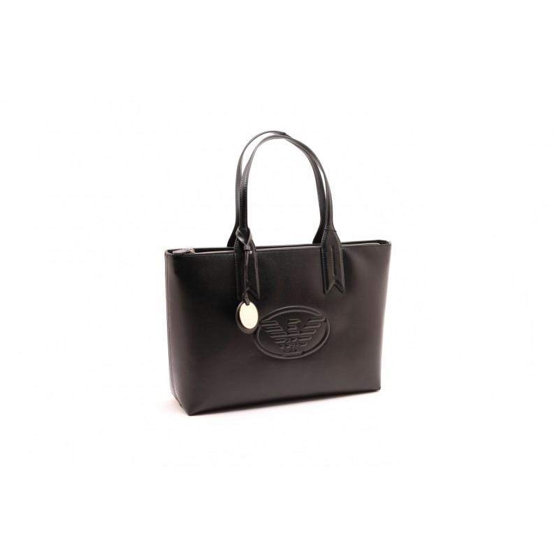 EMPORIO ARMANI - Shopper metallizzata con charm e logo - Nero