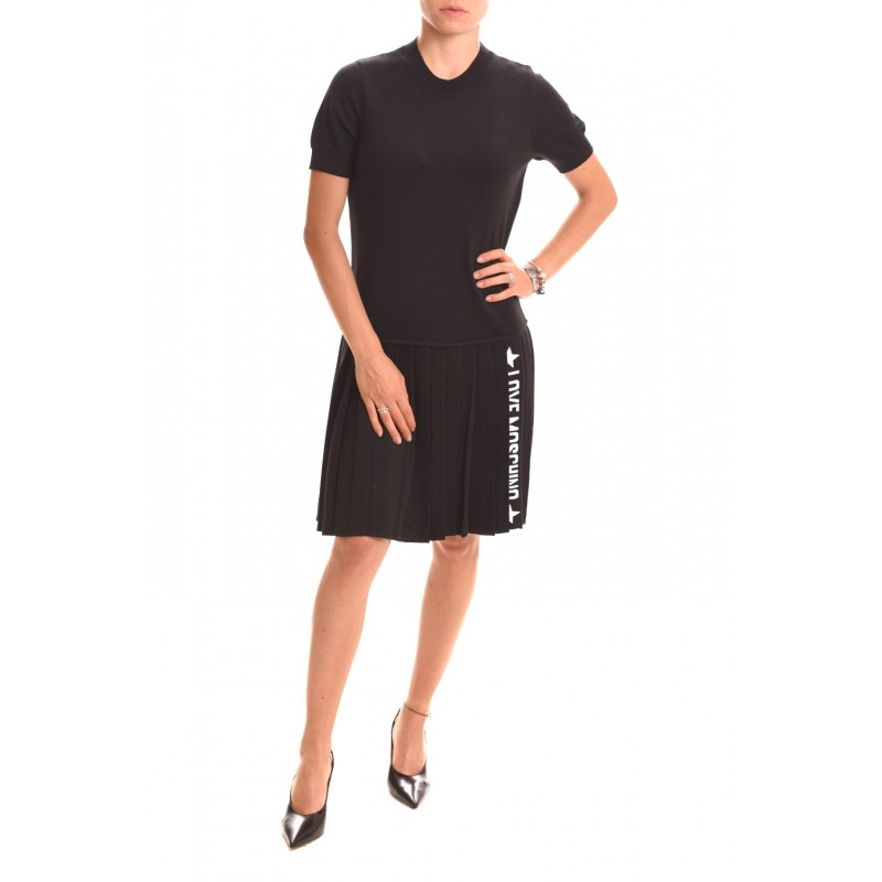 LOVE MOSCHINO - Mixed wool dress with Logo -Black