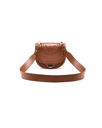 PINKO - LOVE NEW MONOGRAM bag in leather - Light Brown
