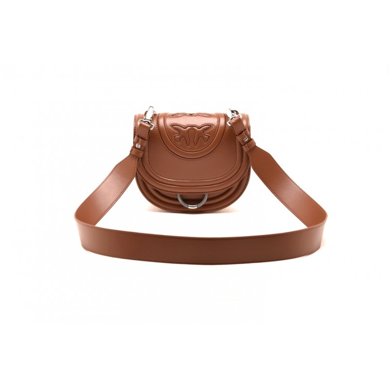 PINKO - Borsa LOVE NEW MONOGRAM in pelle - Light Brown