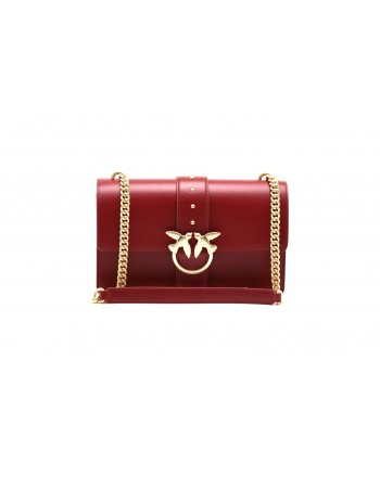 PINKO - Borsa LOVE SIMPLY in pelle - Dark Red