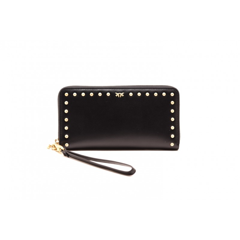 PINKO - EIRE  leather Pochette - Black