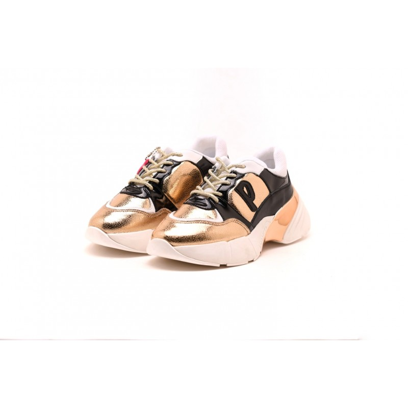 PINKO - Sneakers Shoes to Rock Craquelè polyshed - Gold/Black