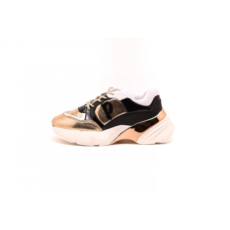 PINKO - Sneakers Shoes to Rock Craquelè e vernice - Oro/Nero