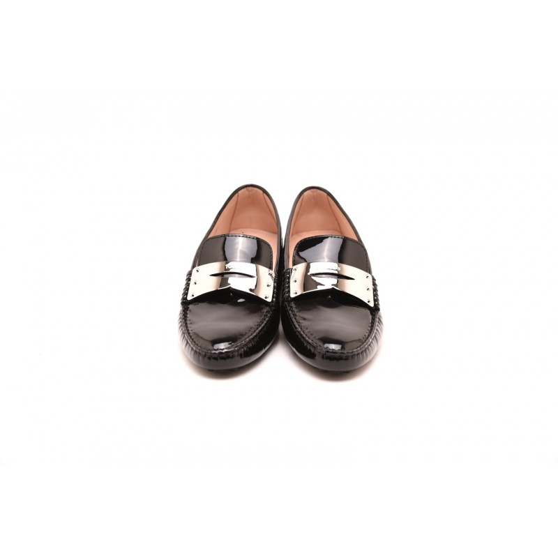 TOD'S - Mocassino in Vernice con Tag Metallico - Nero