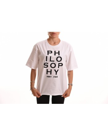 PHILOSOPHY di LORENZO SERAFINI - Cotton T-Shirt with Logo - White