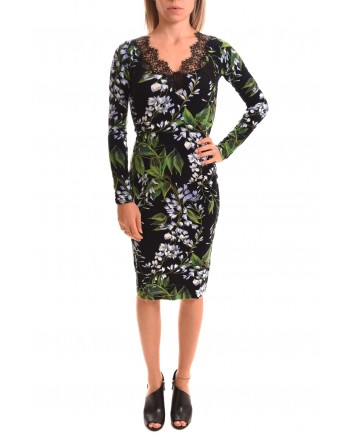 BLUMARINE - Viscose Dress with Lily Pattern - Black/ Lilac