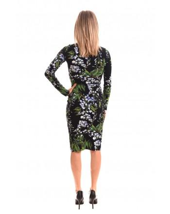 BLUMARINE - Viscose Dress with Lily Pattern - Black/ Lilac