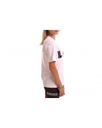 LOVE MOSCHINO - Cotton T-Shirt with Opticl Logo - White