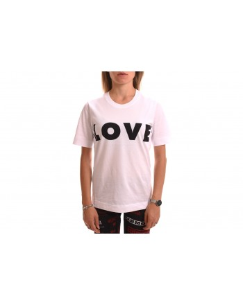 LOVE MOSCHINO - T-Shirt in Cotone con Logo Optical - Bianco