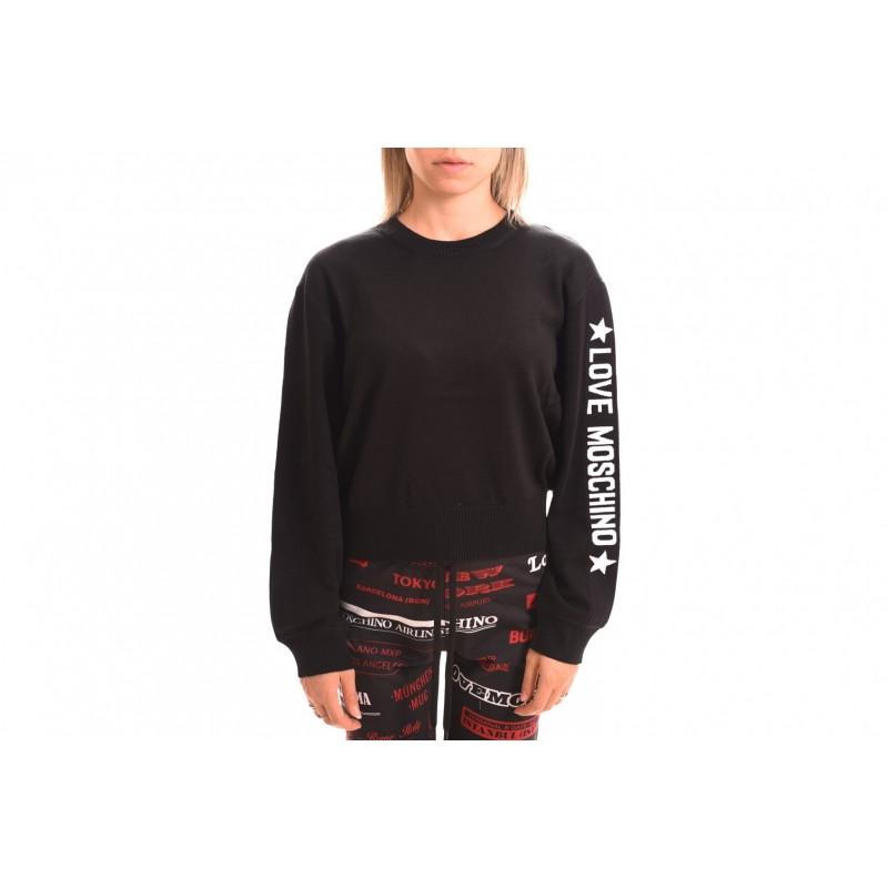 LOVE MOSCHINO - T-Shirt in cotone manica lunga - Nero