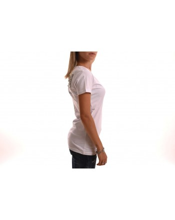 PHILIPP PLEIN -T-Shirt Scollo a V e Dettagli Strass - Bianco