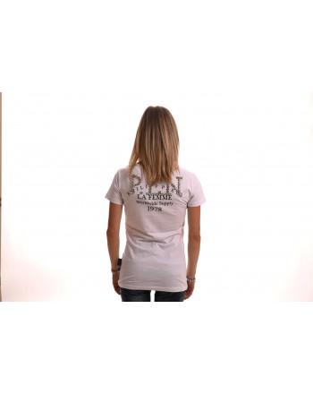 PHILIPP PLEIN - V-Neckline T-Shirt with Rhinestone Details - White