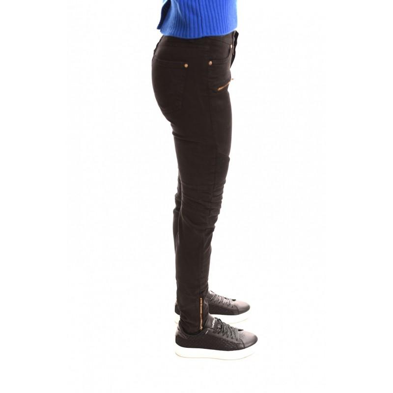 FRANKIE MORELLO - Pantalone Slim con Zip Frontali - Nero