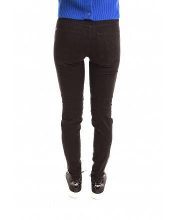 FRANKIE MORELLO - Slim Fit Trousers with front Zippers - Black