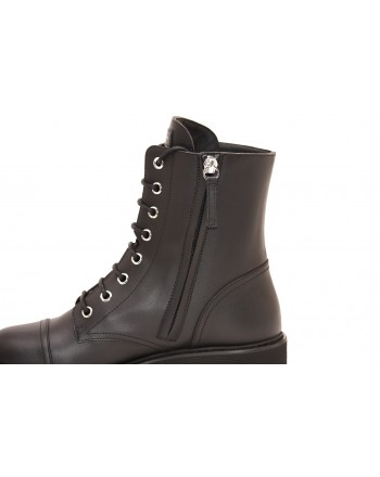 GIUSEPPE ZANOTTI - Leather Boots with Laces - Black