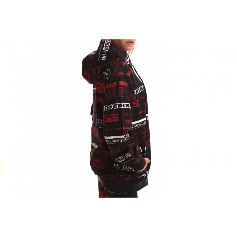 LOVE MOSCHINO - Giubbino in cotone elasticizzato con cappuccio - Nero