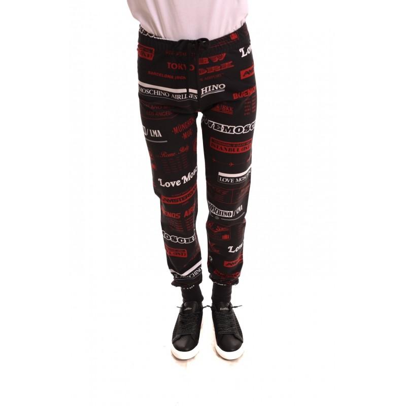 LOVE MOSCHINO - Pantalone in cotone con stampa - Nero