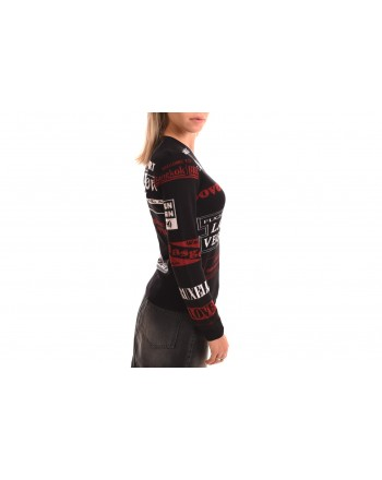 LOVE MOSCHINO - V-neck cardigan with print - Black