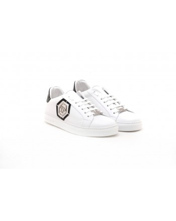 PHILIPP PLEIN - Sneakers with Metallic Logo - White/Black