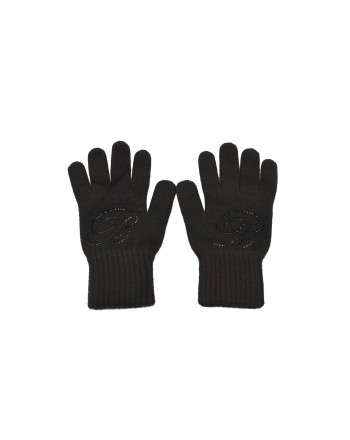 BLUMARINE - Wool gloves with rhinestones - Black