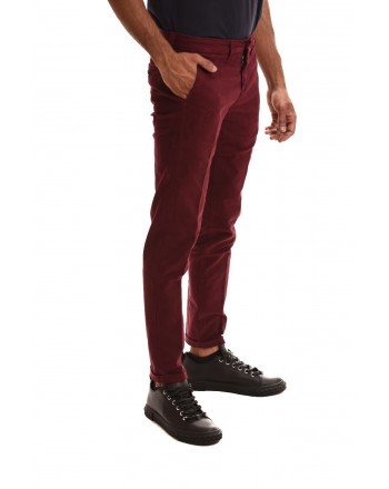 FAY - Pantalone in cotone stretch - Bordeaux