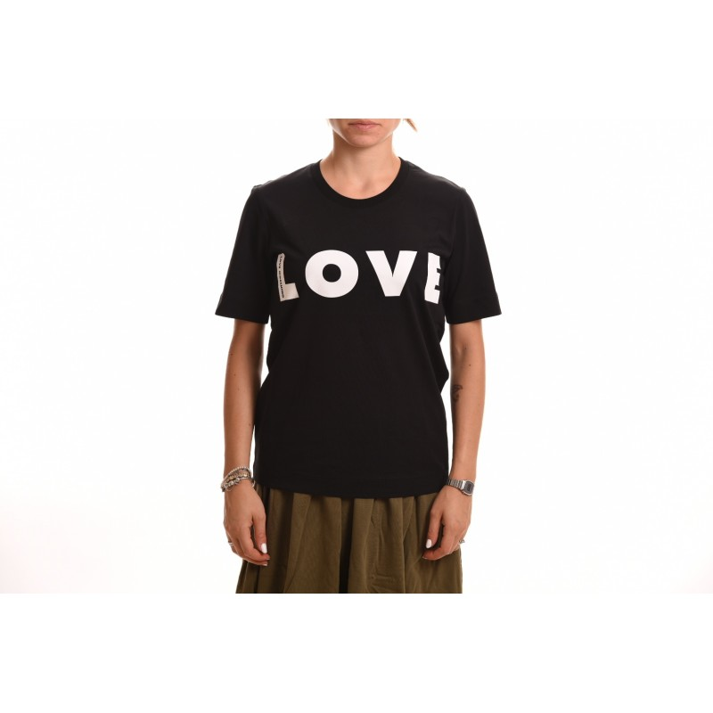 LOVE MOSCHINO - T-Shirt in Cotone con Logo Optical - Nero